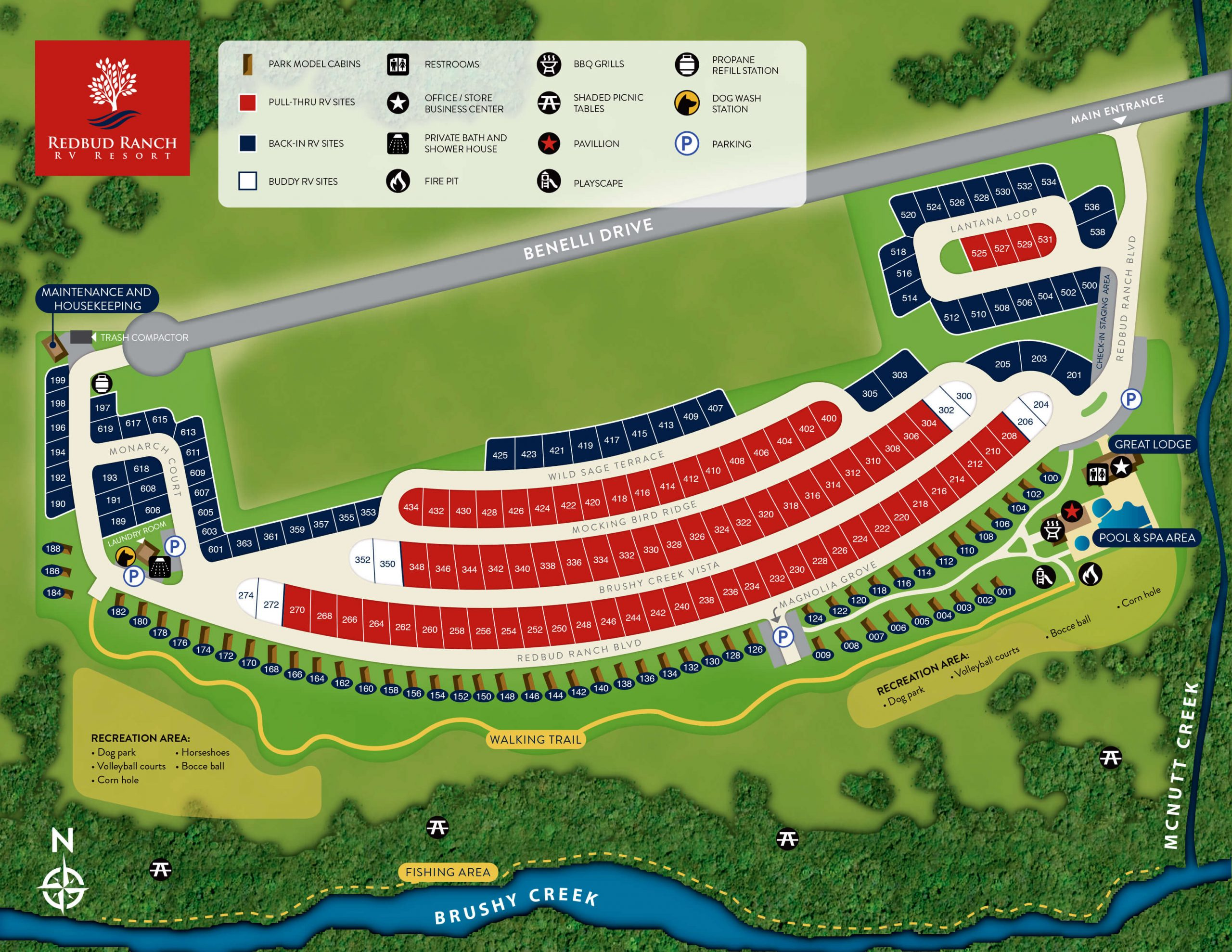 Park Map & Guest Guide | Redbud Ranch RV Resort & Cabin Rentals